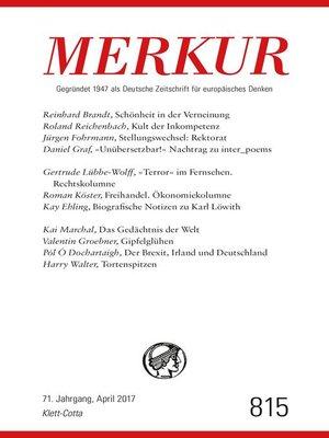 cover image of MERKUR Deutsche Zeitschrift für europäisches Denken--2017-04