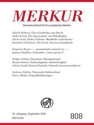 cover image of MERKUR Deutsche Zeitschrift für europäisches Denken--2016-09