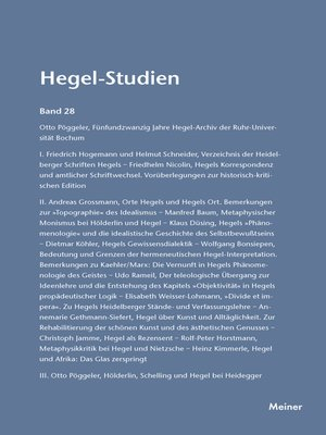 cover image of Hegel-Studien / Hegel-Studien Band 28