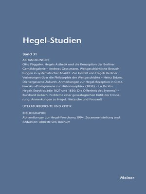 cover image of Hegel-Studien / Hegel-Studien Band 31