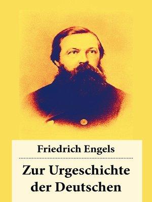 cover image of Zur Urgeschichte der Deutschen
