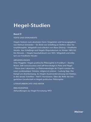 cover image of Hegel-Studien / Hegel-Studien Band 9