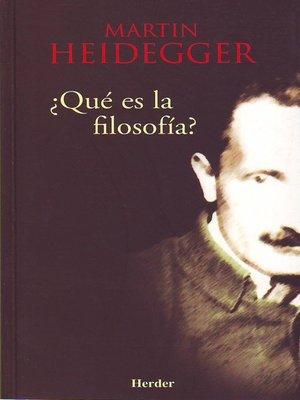 cover image of ¿Qué es la filosofía?
