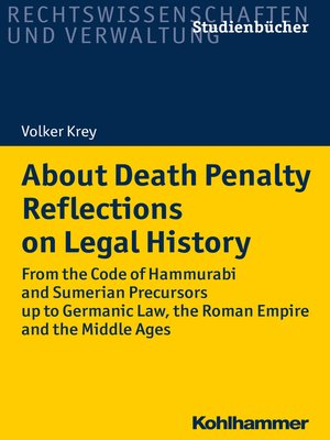 cover image of About Death Penalty. Reflections on Legal History
