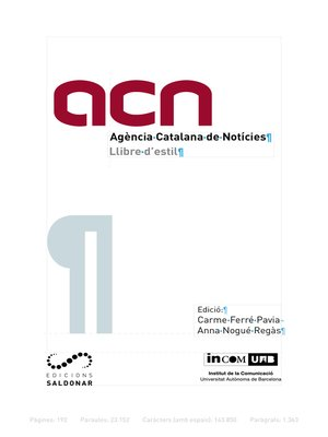 cover image of Llibre d'estil de l'ACN