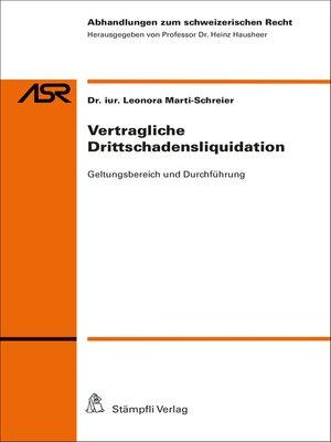 cover image of Vertragliche Drittschadensliquidation