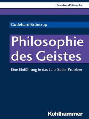 cover image of Philosophie des Geistes