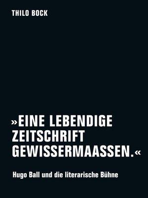 cover image of »Eine lebendige Zeitschrift gewissermaassen.«
