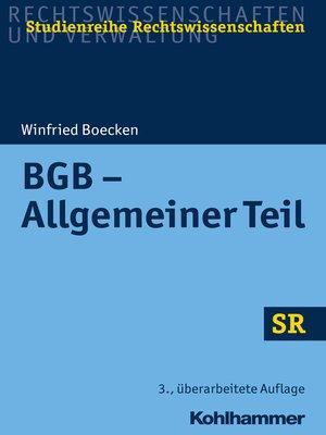 cover image of BGB--Allgemeiner Teil