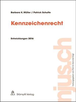 cover image of Kennzeichenrecht