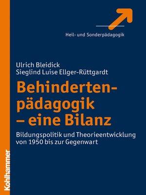 cover image of Behindertenpädagogik--eine Bilanz