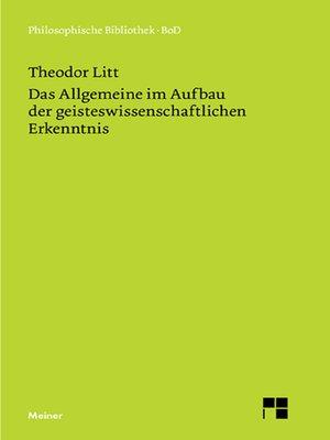 cover image of Das Allgemeine im Aufbau der geisteswissenschaftlichen Erkenntnis
