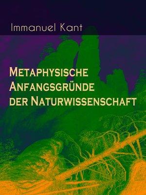cover image of Metaphysische Anfangsgründe der Naturwissenschaft