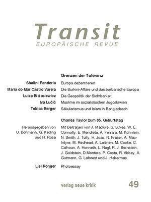 cover image of Transit 49. Europäische Revue