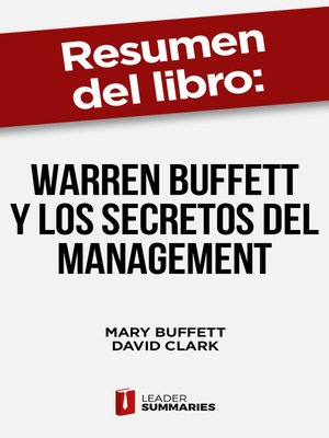 "cover image of Resumen del libro ""Warren Buffett y los secretos del Management"" de Mary Buffett"