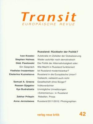 cover image of Transit 42. Europäische Revue