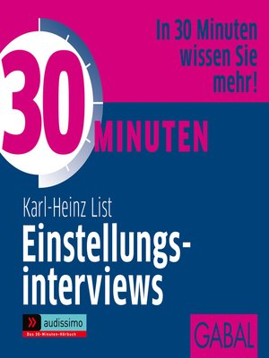 cover image of 30 Minuten Einstellungsinterviews