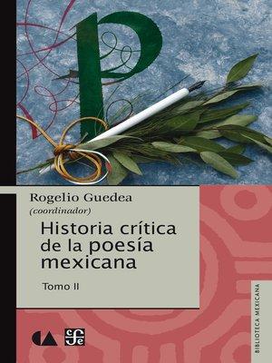 cover image of Historia crítica de la poesía mexicana