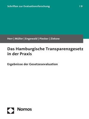 cover image of Das Hamburgische Transparenzgesetz in der Praxis