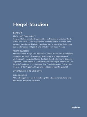 cover image of Hegel-Studien / Hegel-Studien Band 30