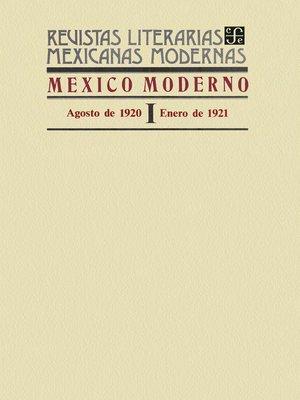 cover image of México moderno I, agosto de 1920-enero de 1921