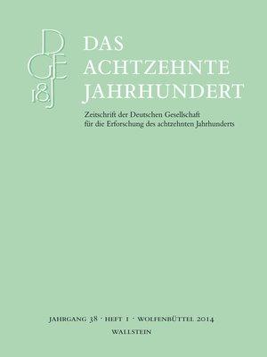 cover image of Das achtzehnte Jahrhundert 38/1