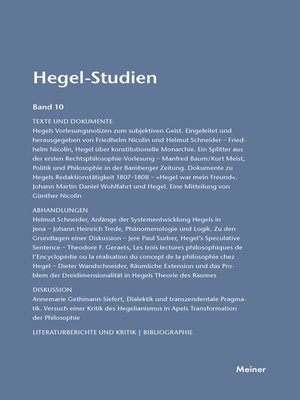 cover image of Hegel-Studien / Hegel-Studien Band 10