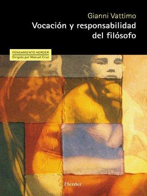 cover image of Vocación y responsabilidad del filósofo