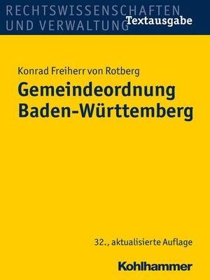cover image of Gemeindeordnung Baden-Württemberg
