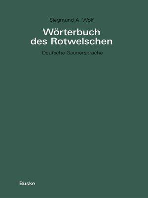 cover image of Wörterbuch des Rotwelschen
