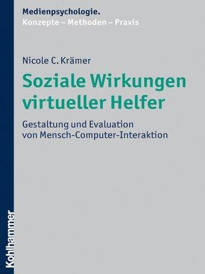 cover image of Soziale Wirkungen virtueller Helfer