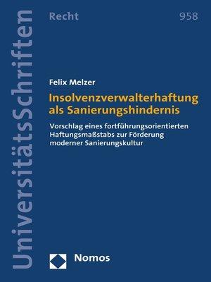 cover image of Insolvenzverwalterhaftung als Sanierungshindernis