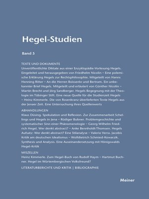 cover image of Hegel-Studien / Hegel-Studien Band 5
