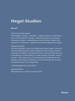 cover image of Hegel-Studien / Hegel-Studien Band 8