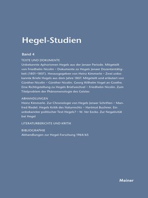 cover image of Hegel-Studien / Hegel-Studien Band 4