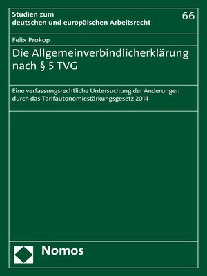 cover image of Die Allgemeinverbindlicherklärung nach § 5 TVG