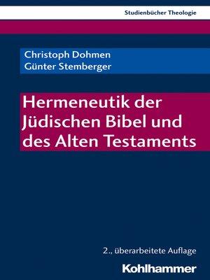 cover image of Hermeneutik der Jüdischen Bibel und des Alten Testaments