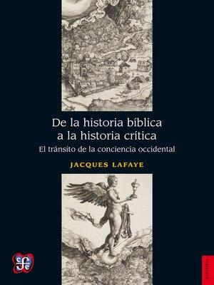 cover image of De la historia bíblica a la historia crítica