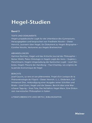 cover image of Hegel-Studien / Hegel-Studien Band 3