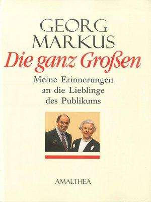 cover image of Die ganz Großen