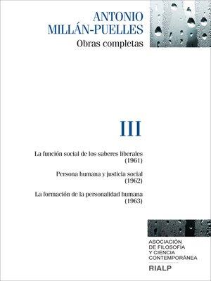 cover image of Millán-Puelles. III. Obras completas