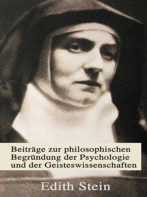 cover image of Beiträge zur philosophischen Begründung der Psychologie und der Geisteswissenschaften