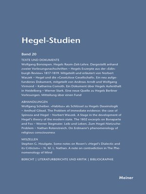 cover image of Hegel-Studien / Hegel-Studien Band 20