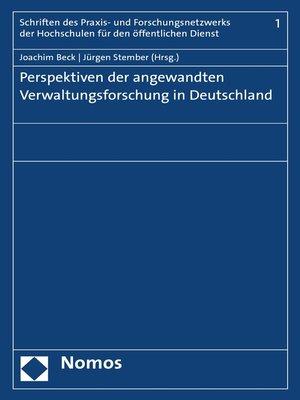 cover image of Perspektiven der angewandten Verwaltungsforschung in Deutschland
