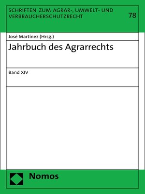 cover image of Jahrbuch des Agrarrechts