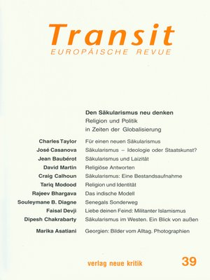 cover image of Transit 39. Europäische Revue