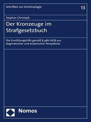 cover image of Der Kronzeuge im Strafgesetzbuch