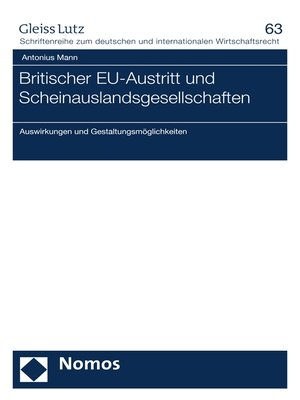 cover image of Britischer EU-Austritt und Scheinauslandsgesellschaften