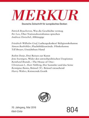 cover image of MERKUR Deutsche Zeitschrift für europäisches Denken--2016-05