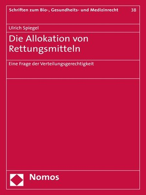 cover image of Die Allokation von Rettungsmitteln